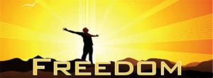 freedom man with sun and arms wide